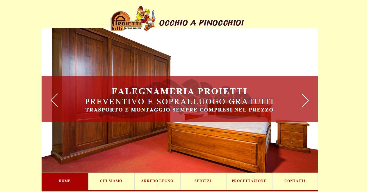 Realizzazione sito web falegnameria proietti arredamenti for Siti di arredamenti